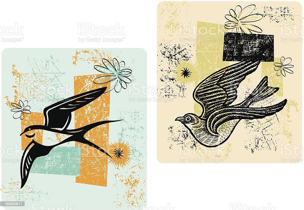 Sparrow Background - Retro Style royalty-free stock vector art