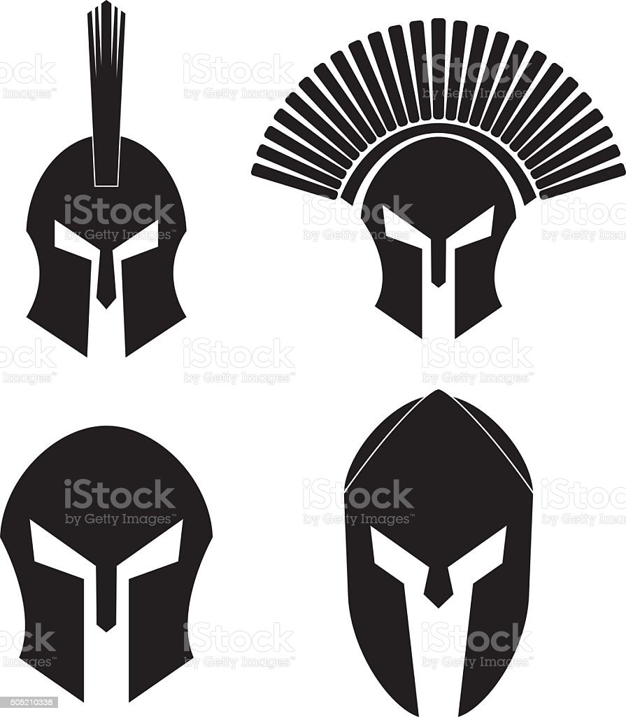 Spartan Helmet Set vector art illustration