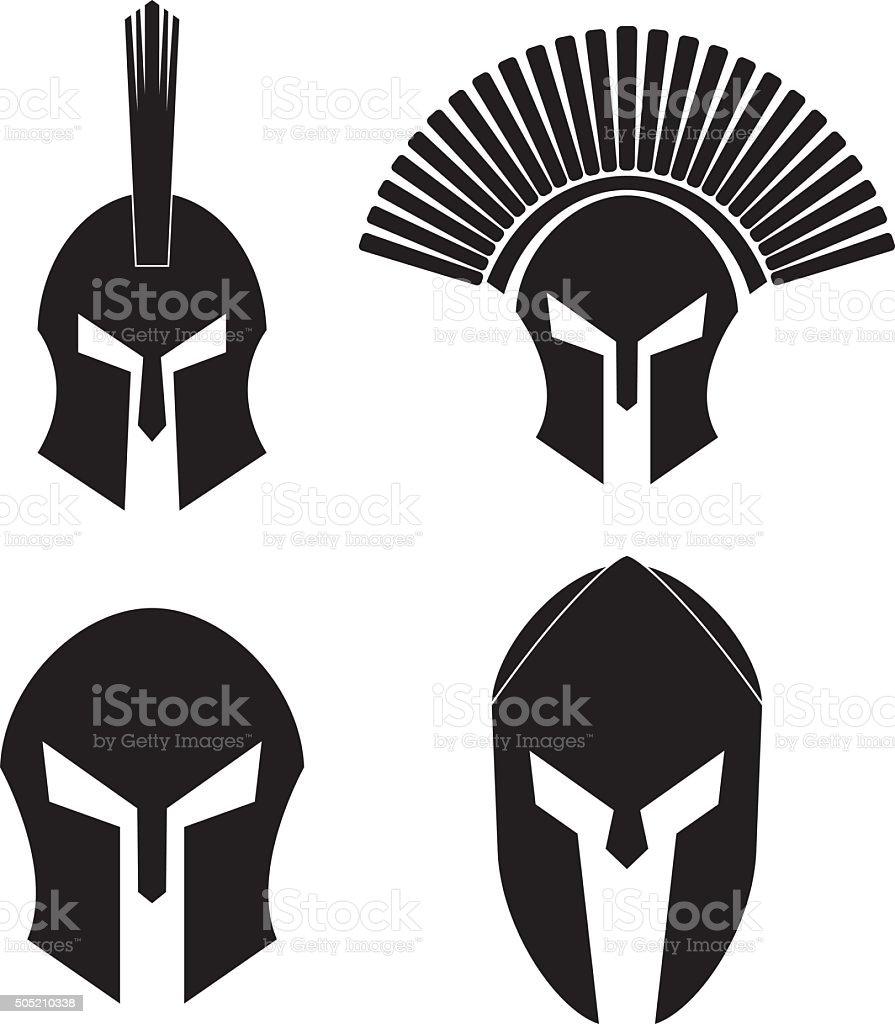 Spartan Helmet Set vector art illustration