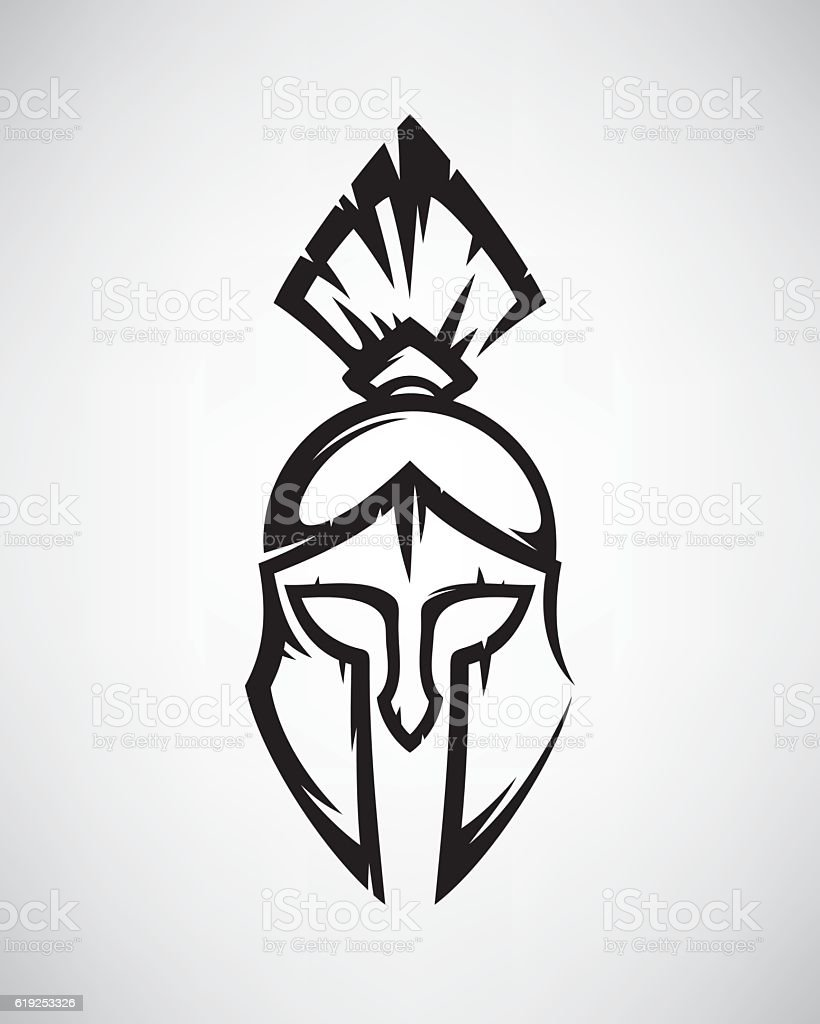Spartan helmet vector art illustration