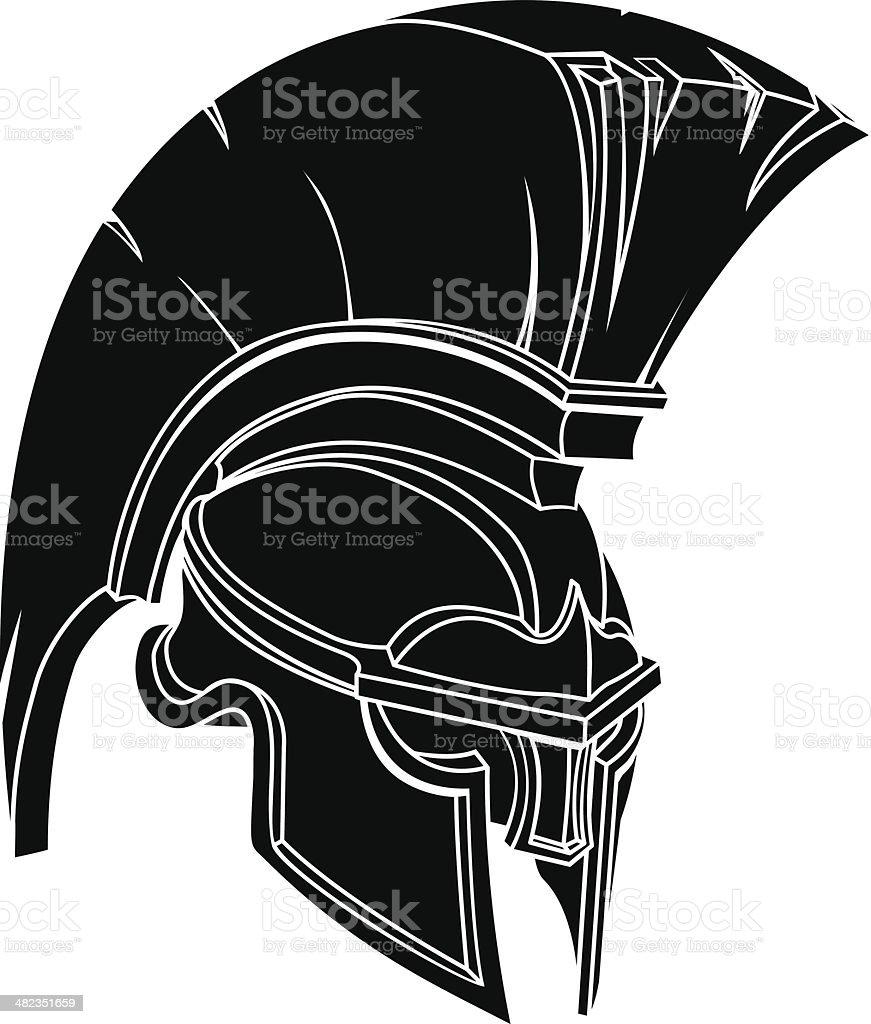 Spartan or trojan helmet vector art illustration