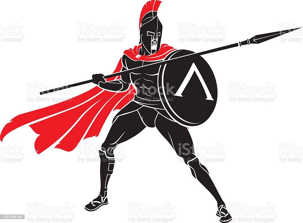 Spartan Spear Shield vector art illustration