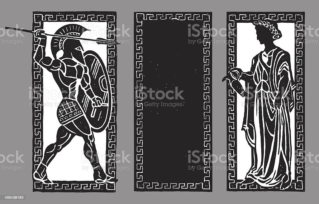 Spartan Warrior and Water Pourer, Greek Background royalty-free stock vector art