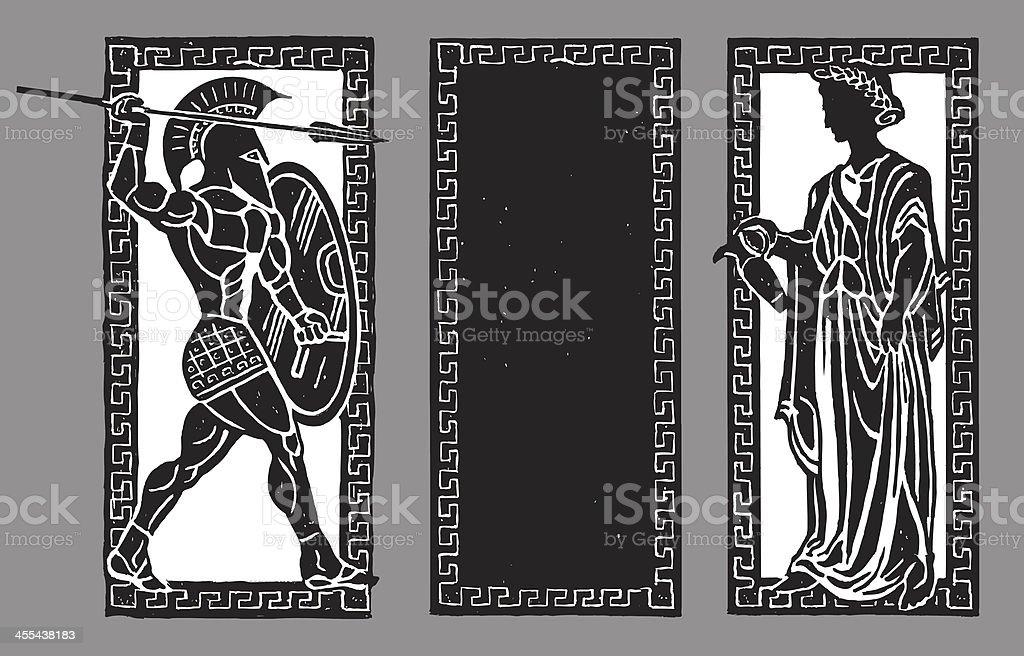 Spartan Warrior and Water Pourer, Greek Background vector art illustration