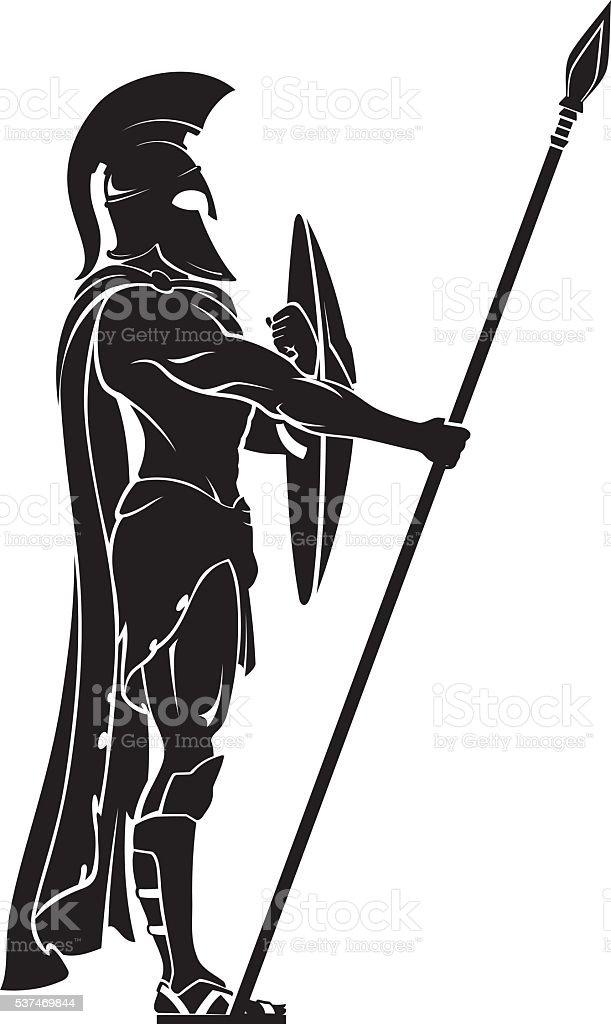 Spartan Warrior Guard vector art illustration