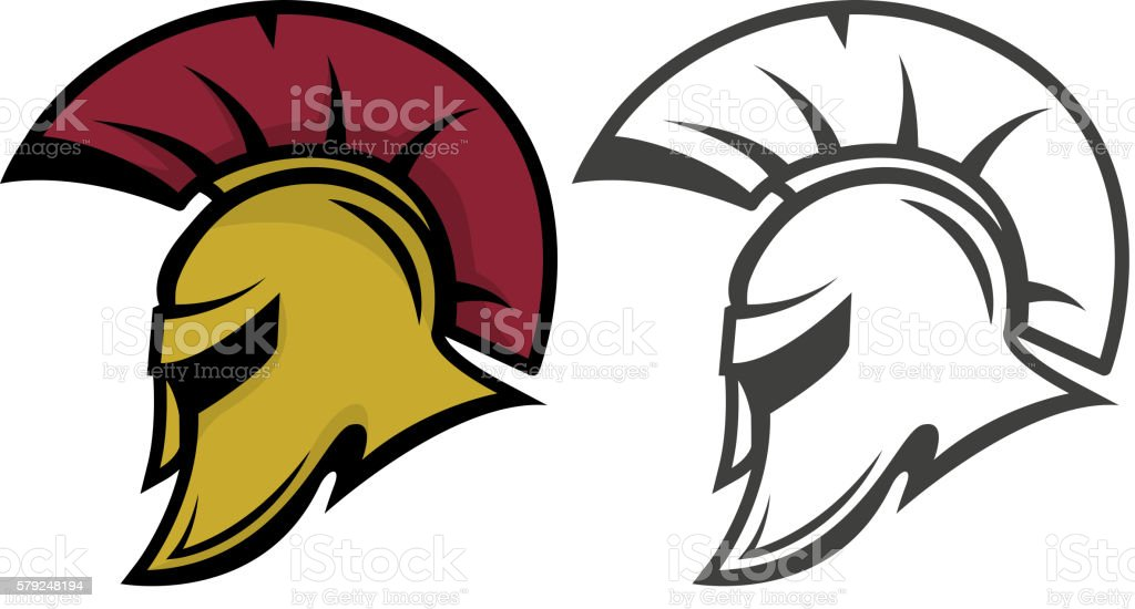 Spartan warrior helmet. Sports team emblem template. vector art illustration