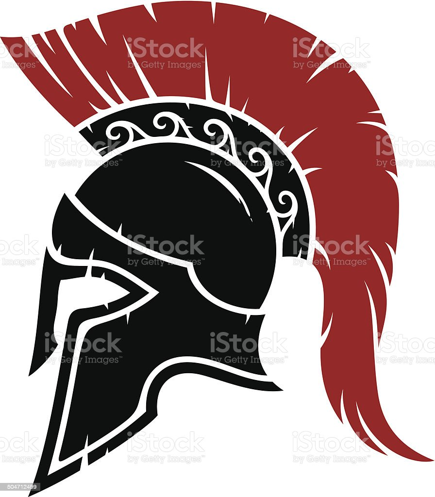 Spartan warrior helmet vector art illustration