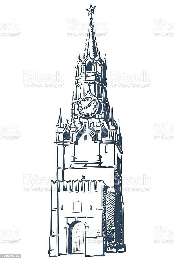 Spasskaya Tower sketch on white BG vector art illustration