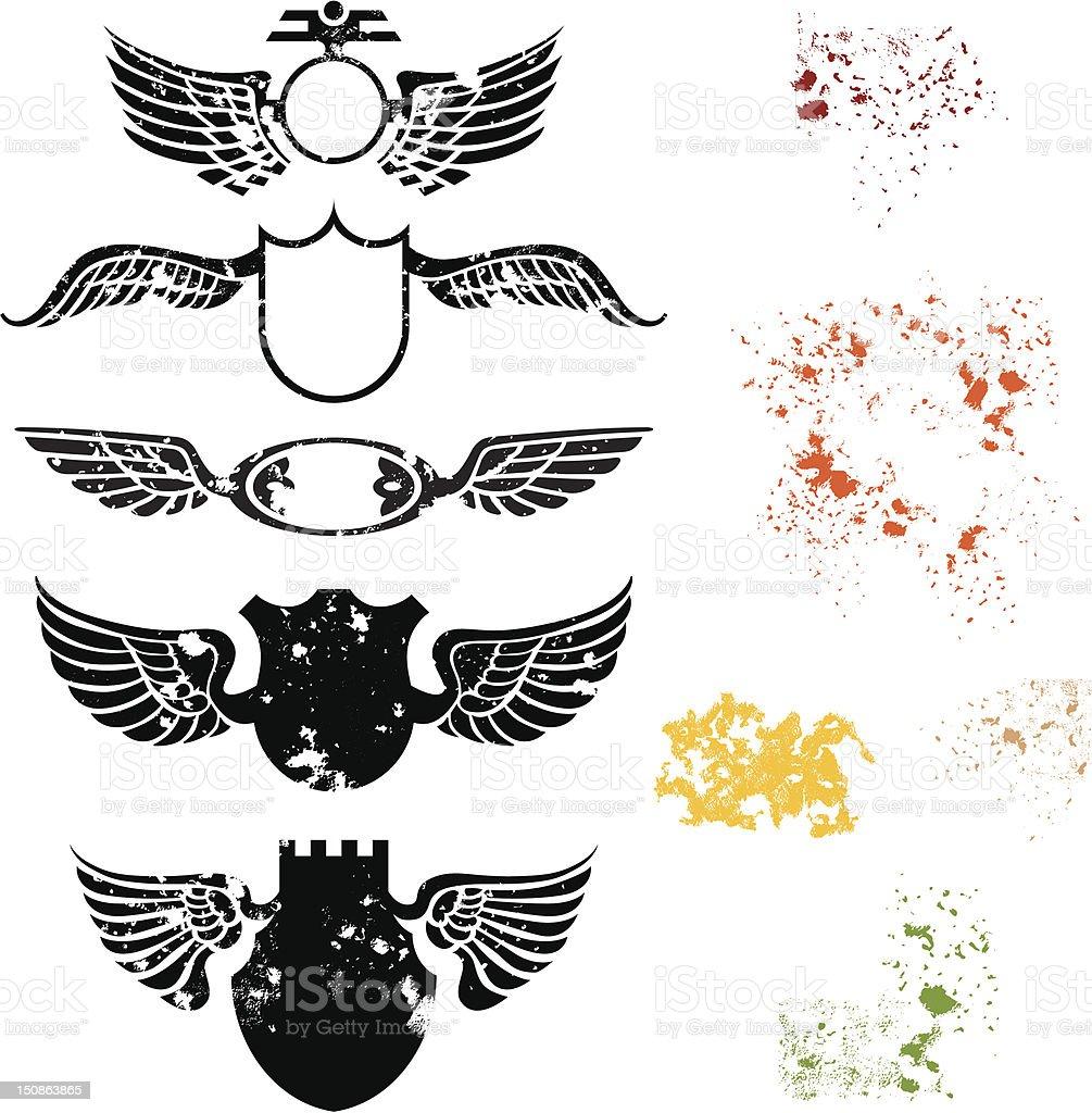 Spattered flying shields vector art illustration