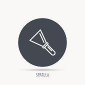 Spatula icon. Finishing repair tool sign.