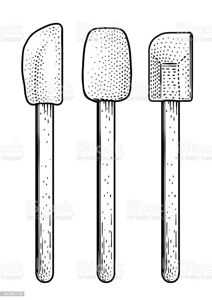 spatula illustration, drawing, engraving, line art vector art illustration