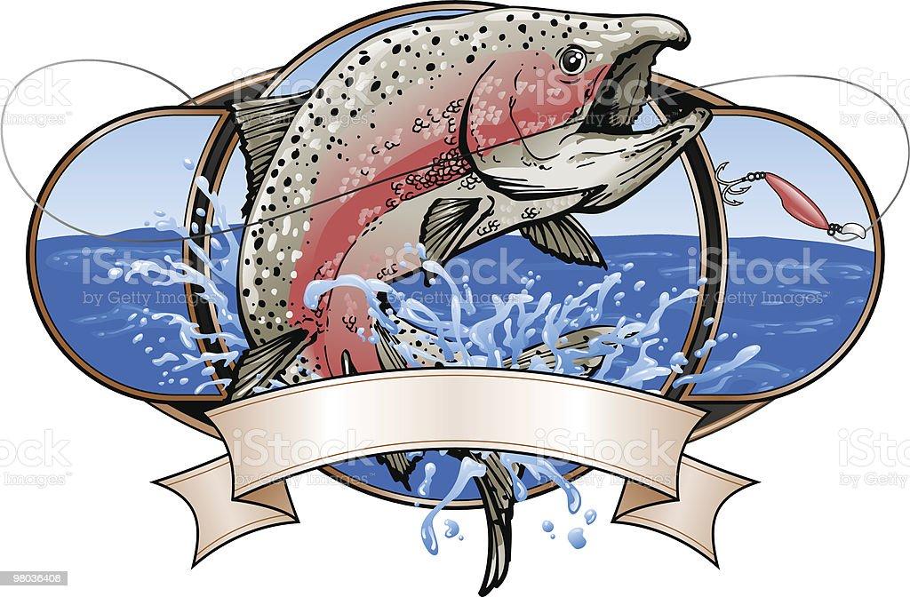 Spawning Salmon Fishing vector art illustration
