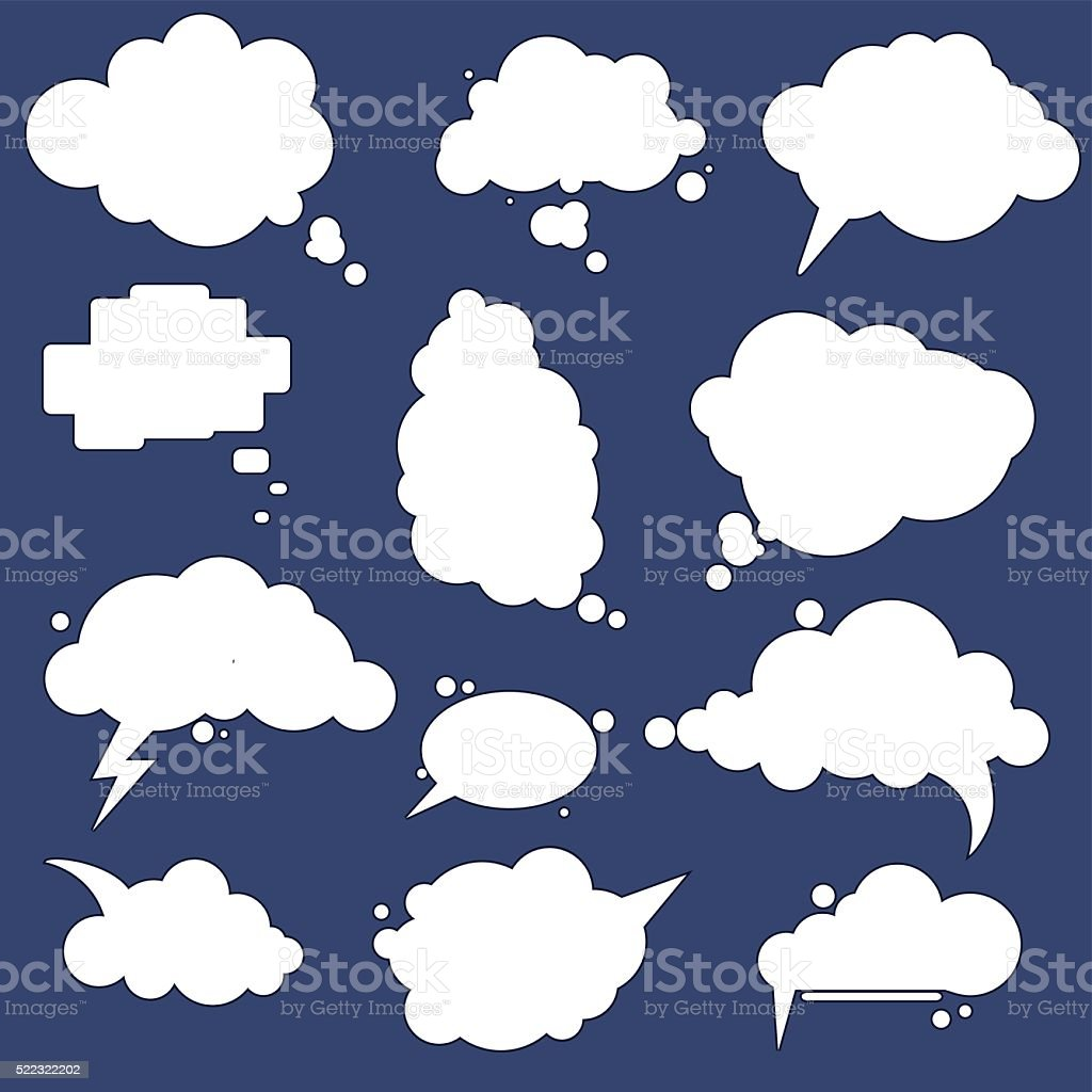 speak cloud bubbles set vector art illustration
