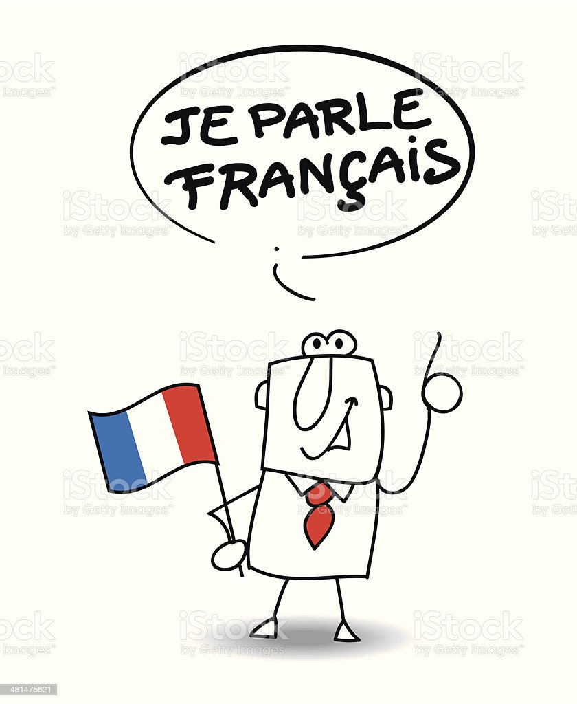 I speak french vector art illustration