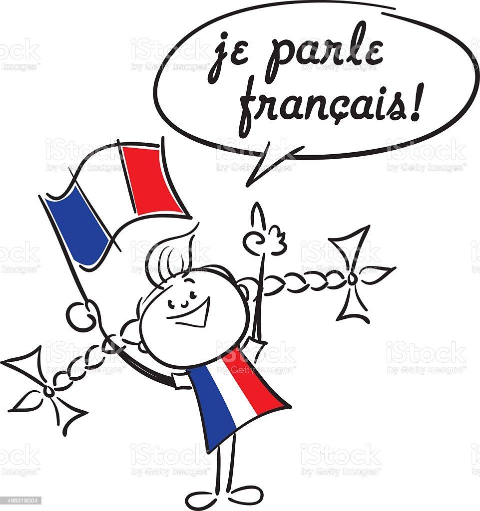 I speak French vector art illustration