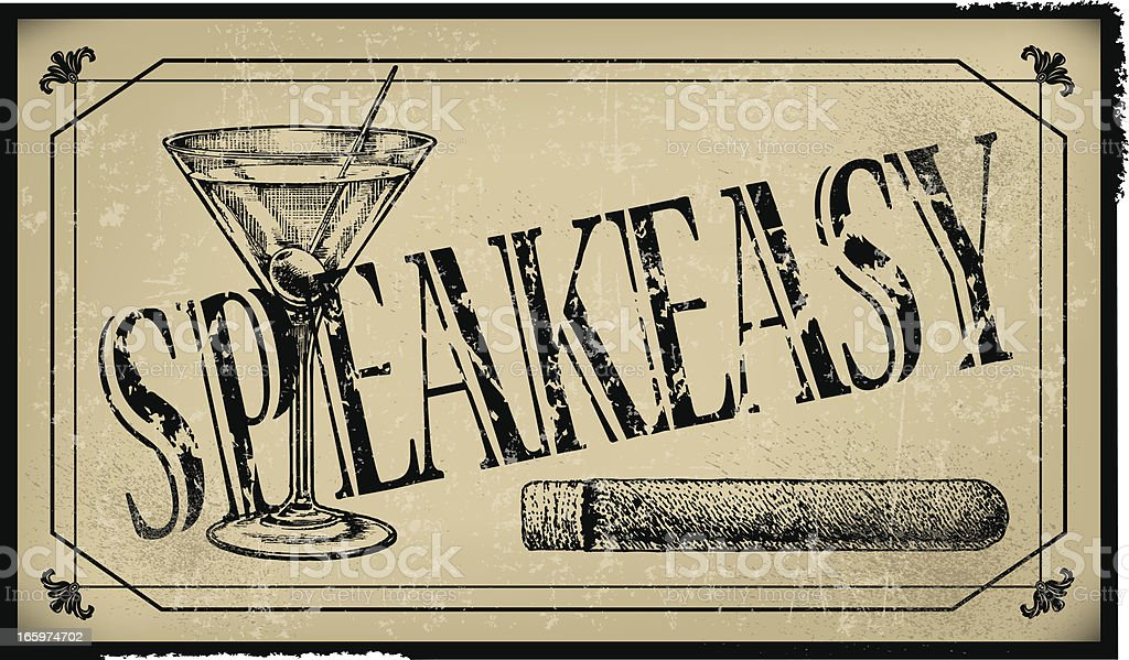 Speakeasy Sign with Cigar and Martini Glass- Retro Background vector art illustration