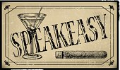 Speakeasy Sign with Cigar and Martini Glass- Retro Background