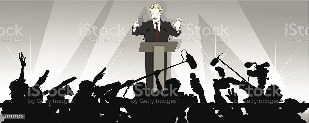 speaker addresses an audience royalty-free stock vector art