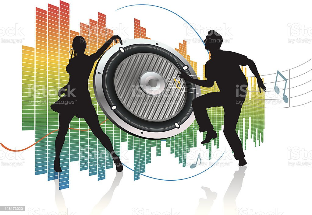 speaker and silhouette of dancer couple royalty-free stock vector art