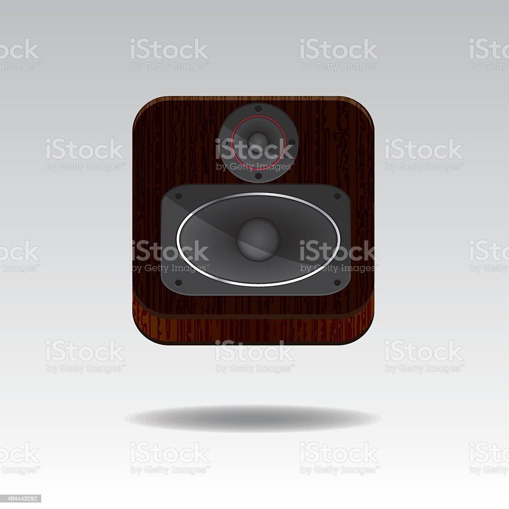 3D Speaker Button vector art illustration