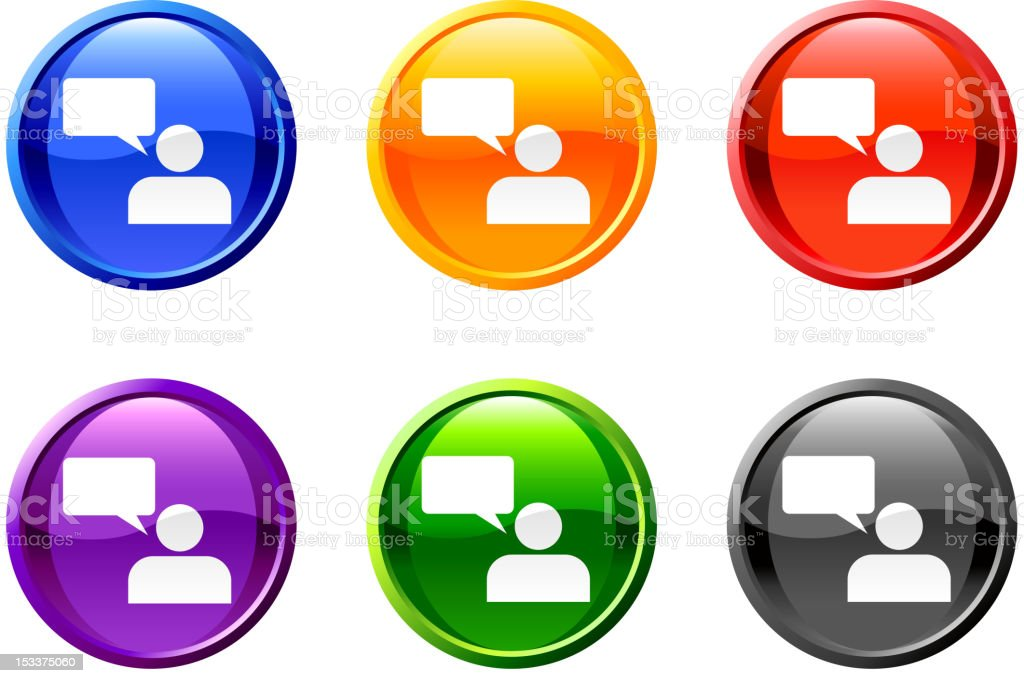 speaker chat royalty free vector icon set round buttons royalty-free stock vector art