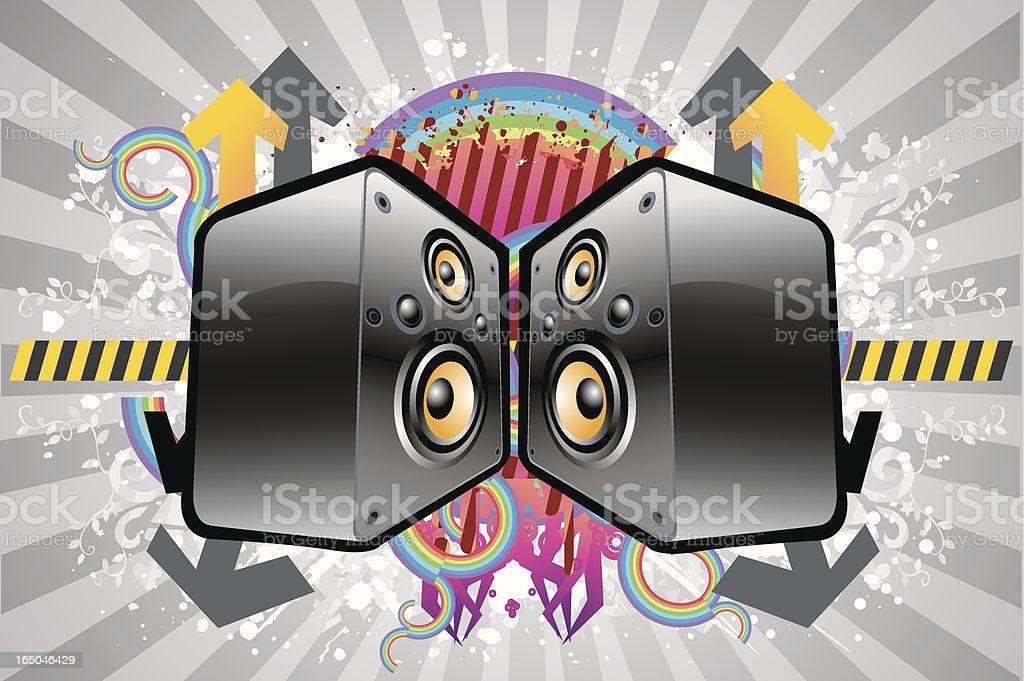speaker color grunge vector art illustration