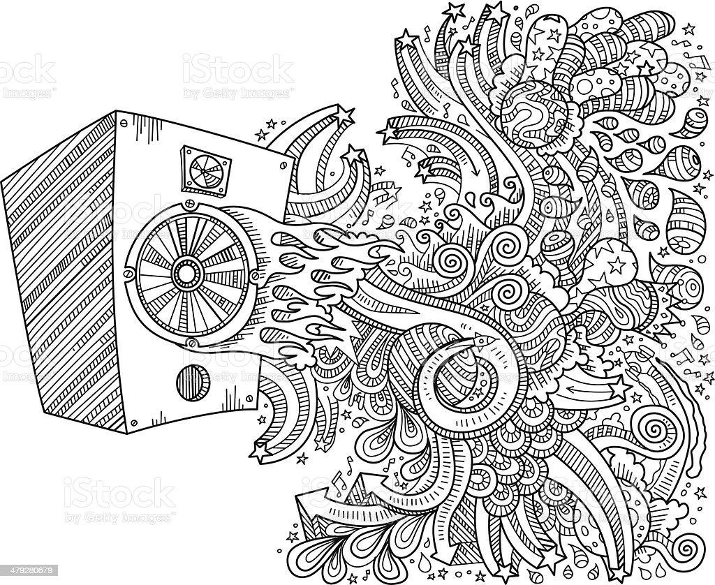 Speaker doodles vector art illustration