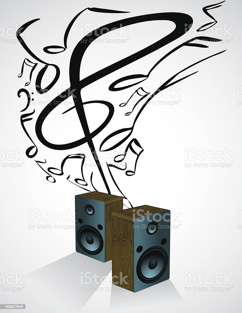 Speaker Music Notes vector art illustration