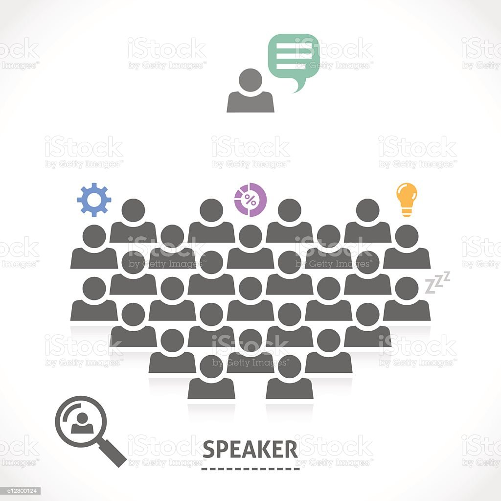 Speaker reads a lecture to an audience vector art illustration
