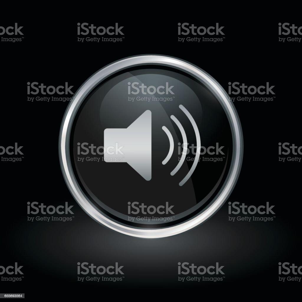 Speaker volume icon inside round silver and black emblem vector art illustration