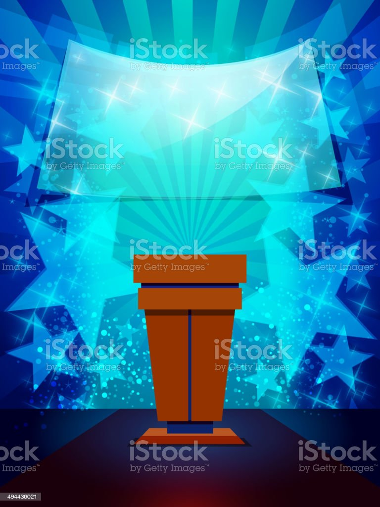 Speakers Desk with Light and Stars Background royalty-free stock vector art
