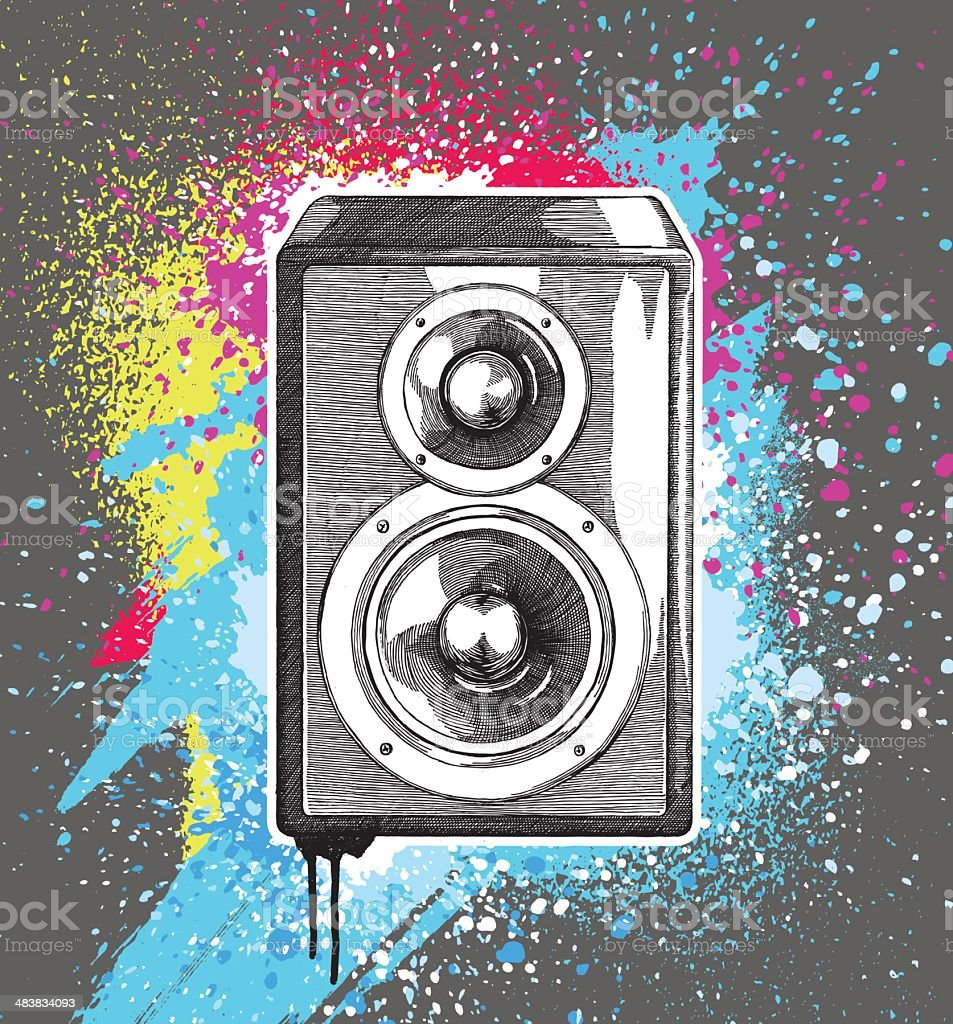 Speakers Grunge Design vector art illustration