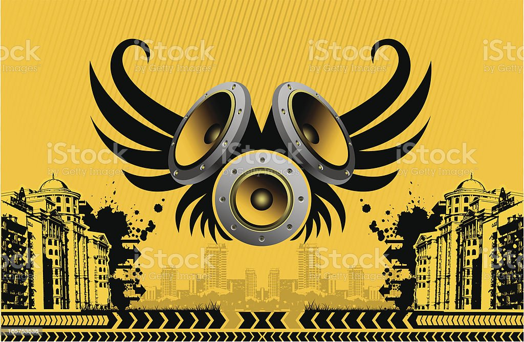 speakers with wings against urban scene royalty-free stock vector art