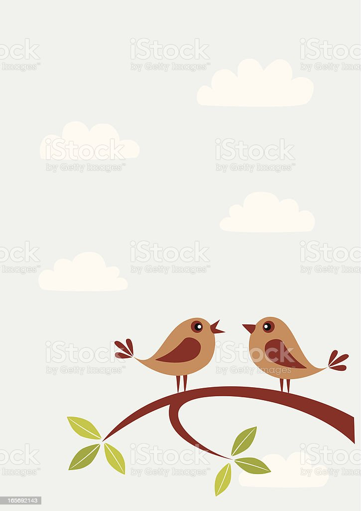 Speaking birds vector art illustration