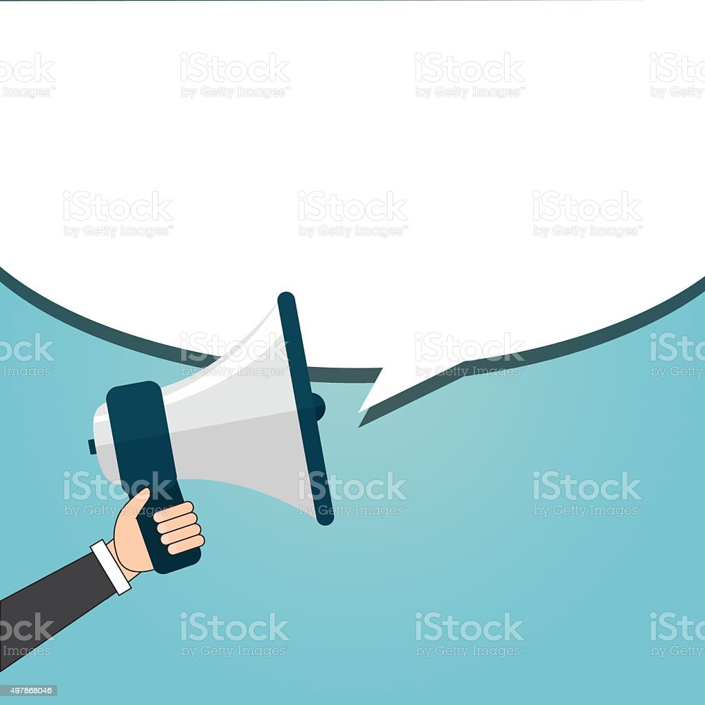 Speaking businessman vector art illustration