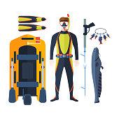 Spearfishing vector set.