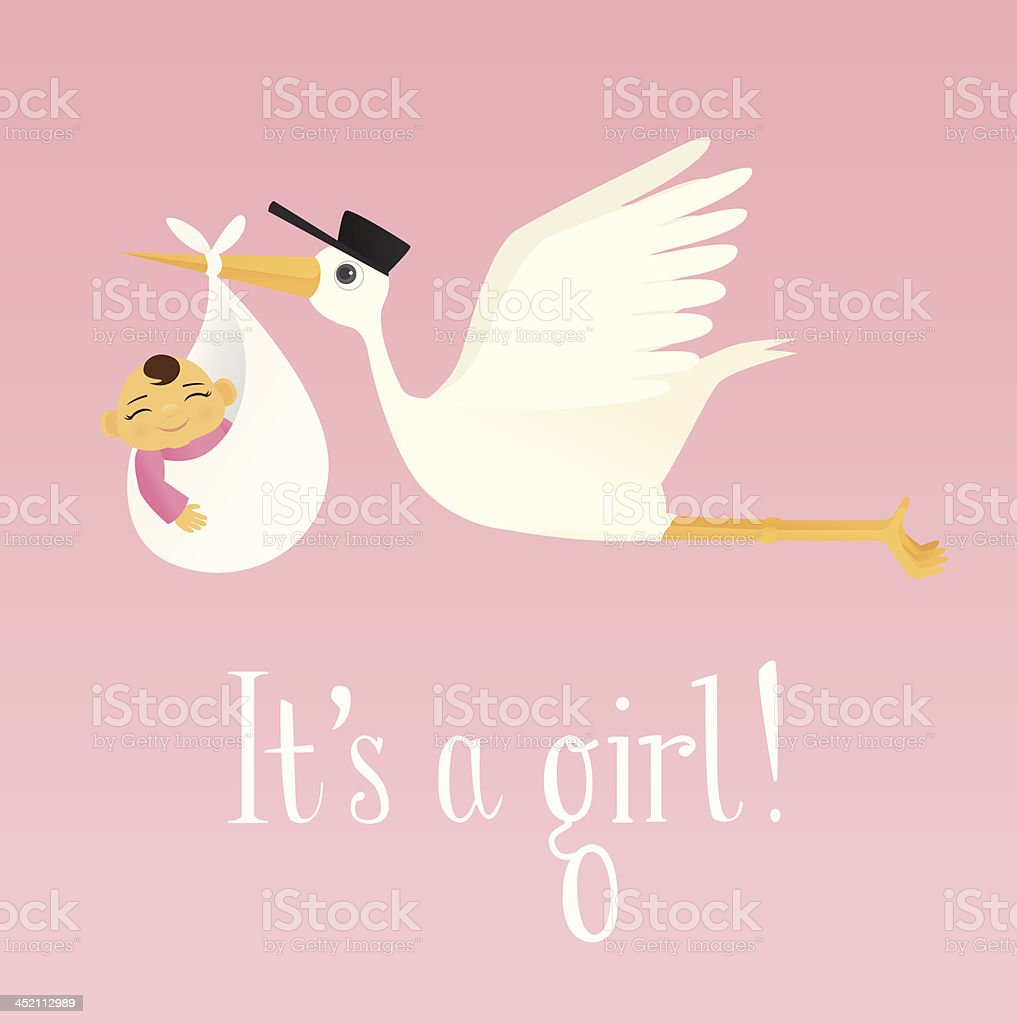 Special Delivery (Baby Girl) royalty-free stock vector art
