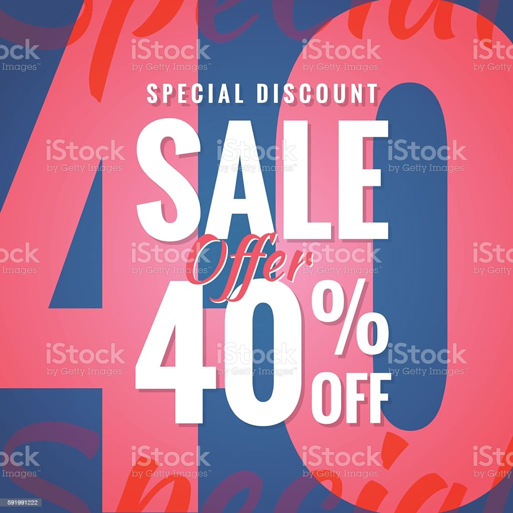 Special Discount Sale 40 percent heading simple modern design banner. vector art illustration