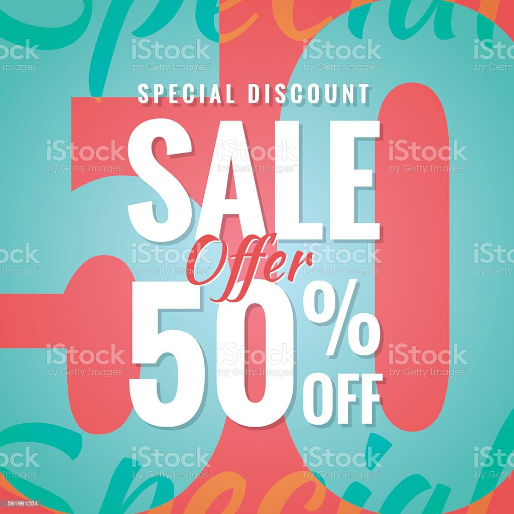 Special Discount Sale 50 percent heading simple modern design banner. vector art illustration