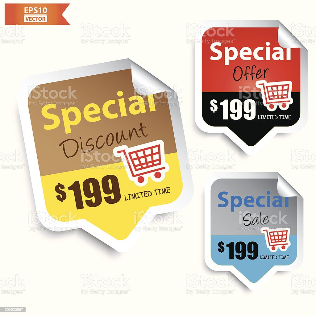 Special Discount, Special Offer, Special Sale Signs or Symbols.-eps10 vector royalty-free stock vector art