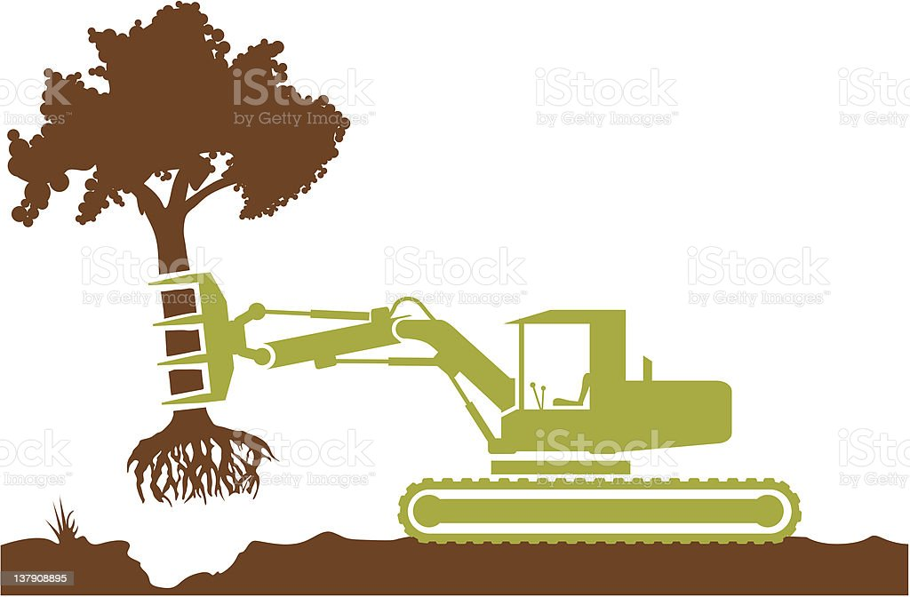 Special equipment removes the tree vector art illustration