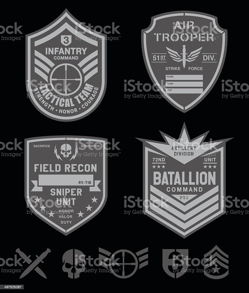 Special forces patch set vector art illustration