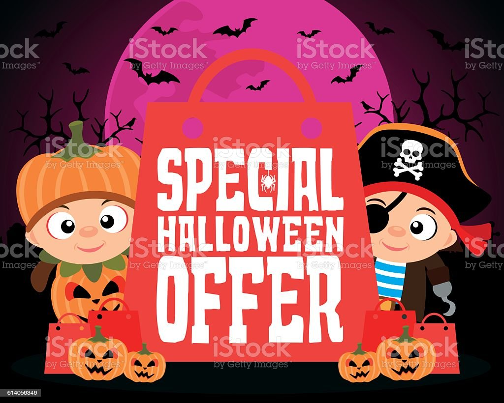 Special Halloween offer design background vector art illustration