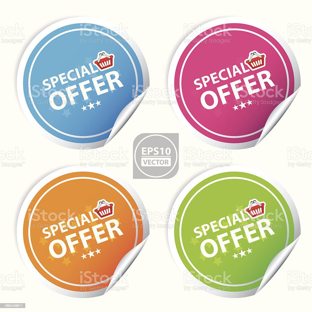 special offer colorful stickers set. vector art illustration