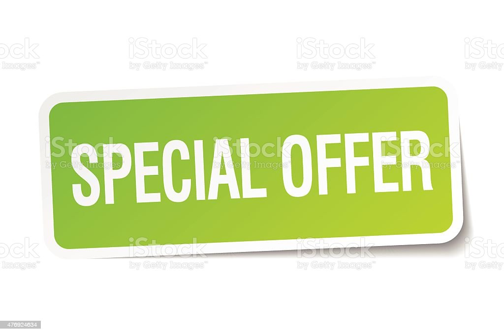 special offer green square sticker on white background vector art illustration