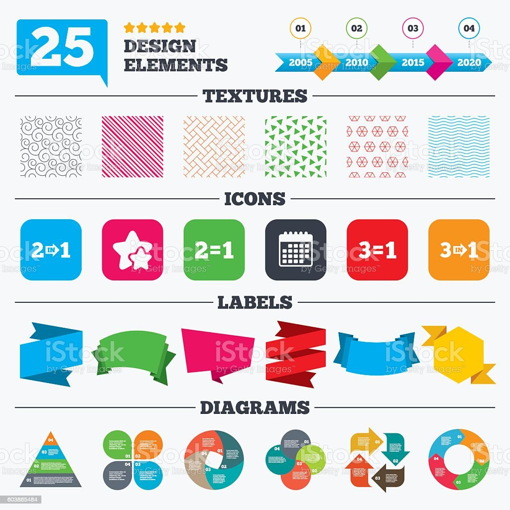 Special offer icons. Take two pay for one sign. vector art illustration