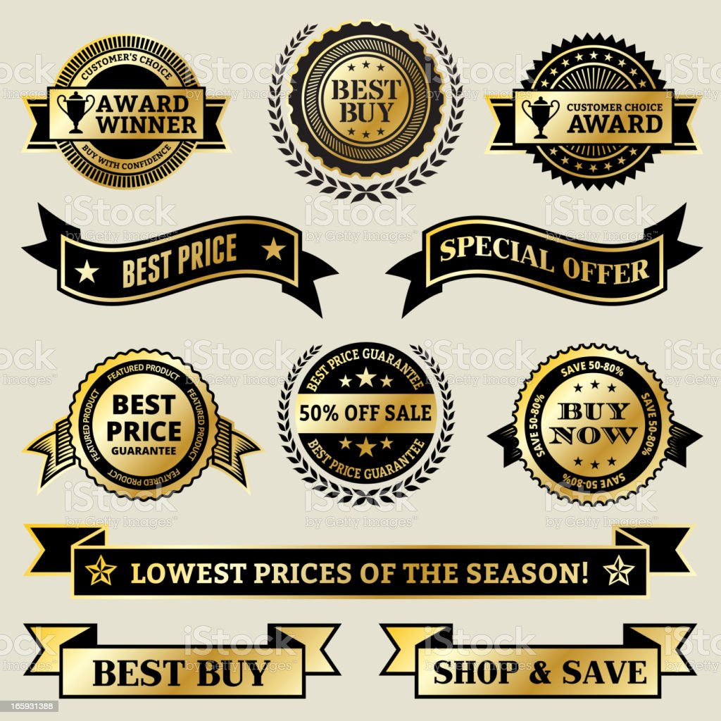 Special offer Shopping Award Winner vector icon set vector art illustration