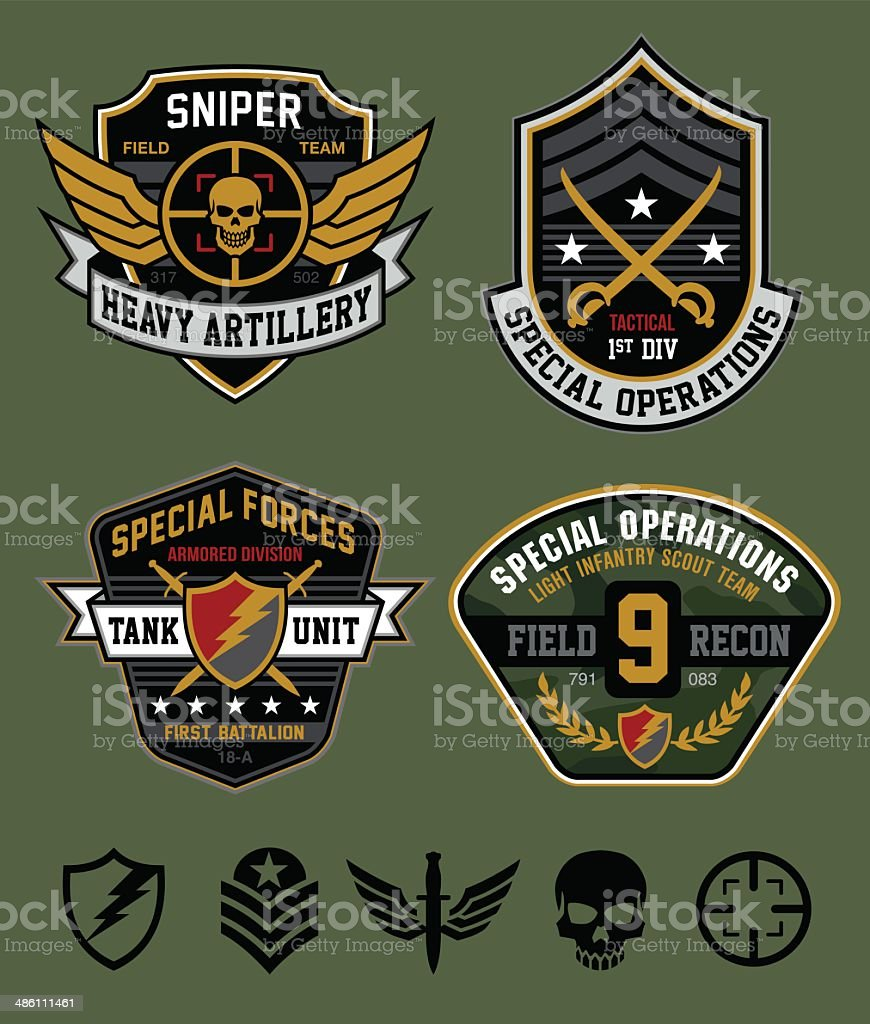 Special ops military patch set vector art illustration