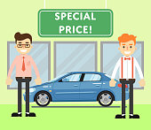 Special price for auto concept with car salesmen
