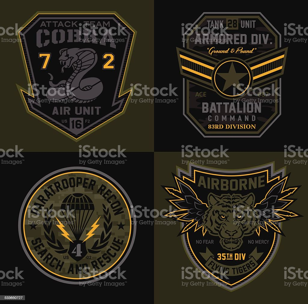 Special unit military patches vector art illustration